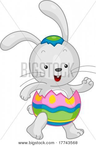 Illustration of an Easter Bunny in a Partially Open Easter Egg