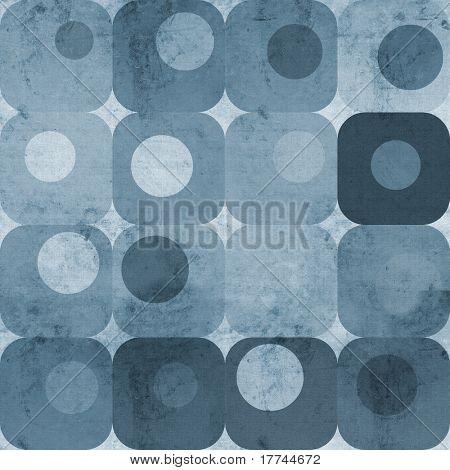Abstract blue squares and circles