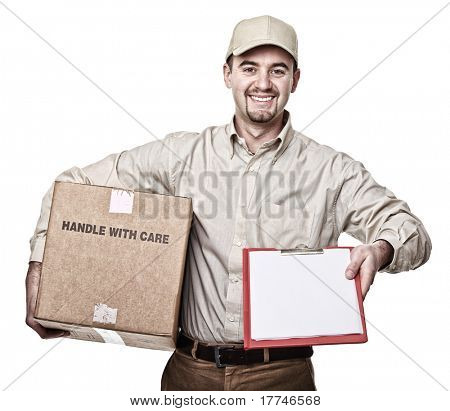smiling delivery man isolated on white