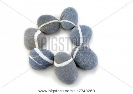 smooth stone on white background