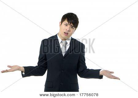 young businessman explaining something to you