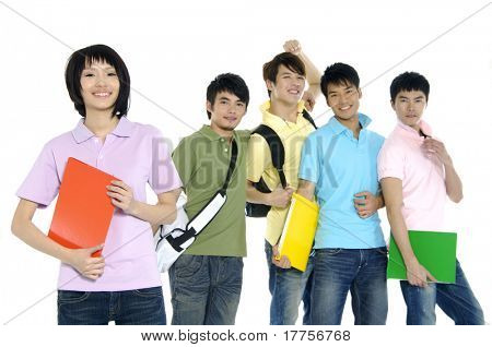 5 happy university students over a white background focus on girl in pink