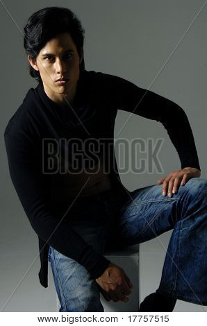 Asian male model posing shot in studio