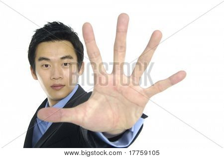 businessman gesturing stop focus on hand