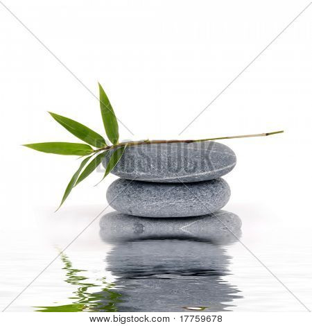 Reflection for stack stones with green leaf