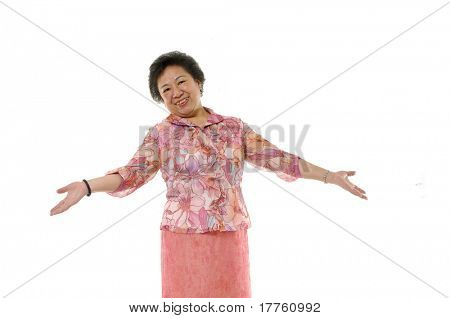 senior lady smiling with arms wide open
