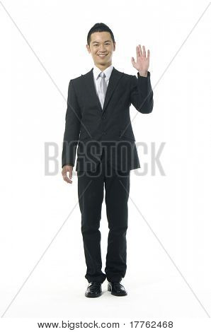 Asian businesswoman shrugging her shoulder