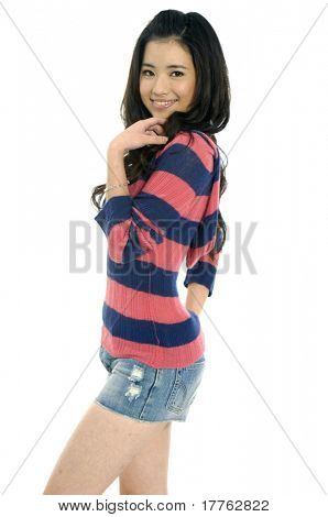 Smiling young asian woman