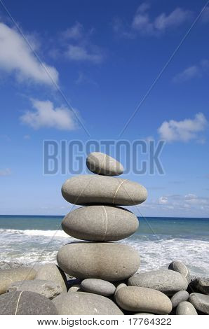 Zen arrangement stacks stone on the seashore
