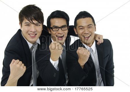 Three ,businessman clenching fists
