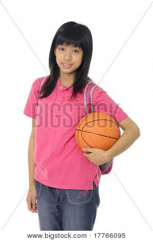 adorable girl whit ball of basketball a over white