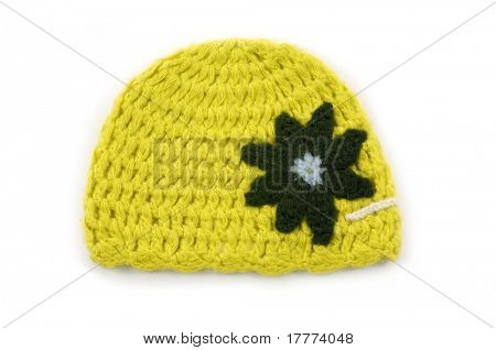 crocheted hat on white background