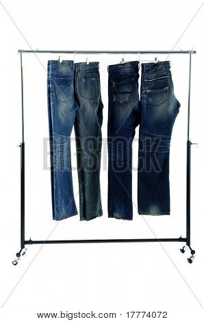 Blue jeans on a hanger