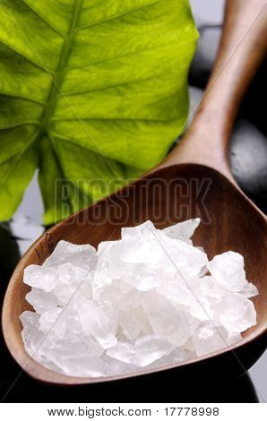 Sea salt with green leaf and massage stones