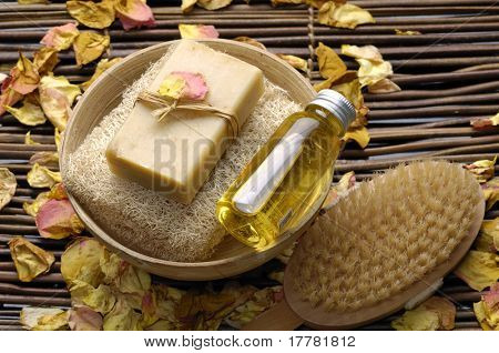 Spa products bath soap and brush on mat