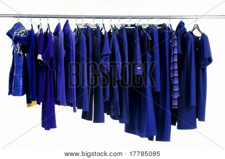 fashion blue clothing hanging as display
