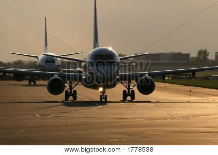 Two Planes On Taxiway
