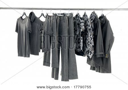 Line of fashion autumn/winter clothes rack on white