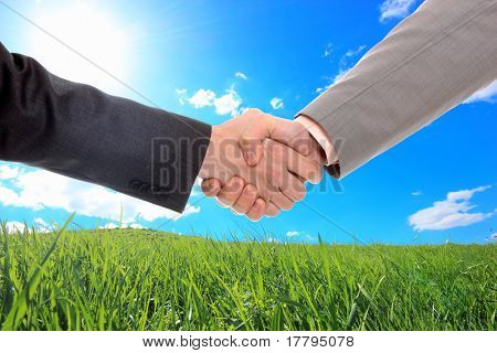 Close-up of a business people shaking hands against blue sky and green grass background