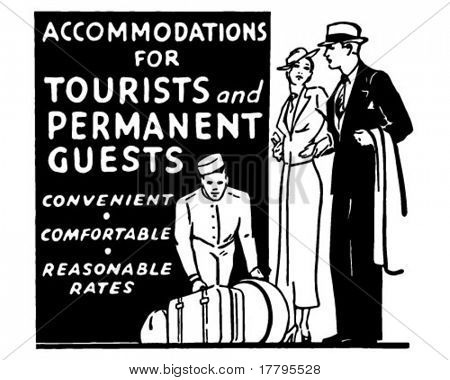 Accommodations For Tourists - Retro Ad Art Banner