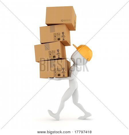 3d man holding a pile of cardboard boxes