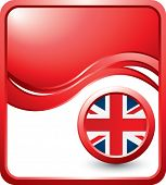 british flag icon on red wave background