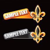 fleur de lis tilted orange and gray banners