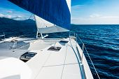 Sailing Yacht Catamaran Sailing In The Sea. Sailboat. Sailing. poster