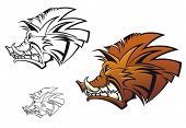 foto of boar  - Wild boar in cartoon style as a tattoo or mascot - JPG
