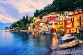Town Of Menaggio On Sunset, Lake Como, Milan, Italy poster