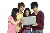 picture of teenage boys  - Friends group of students studying - JPG