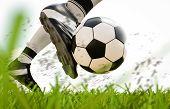 Soccer Player Kicking Soccer Ball In Motion poster