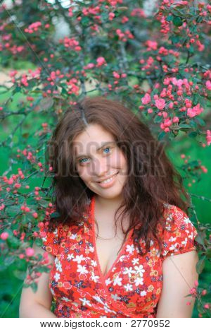 Girl With Pink Flowers