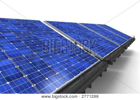 Close-Up Shot On Row Of Solar Panels Against A White Background