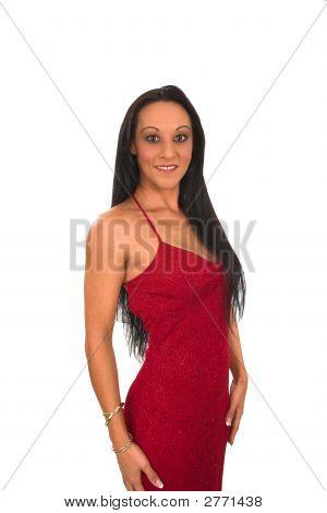 Brunette In Valentine Dress