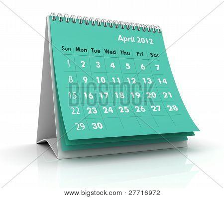 Calendário de 2012. Abril