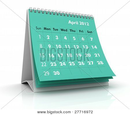 2012 Calendar. April