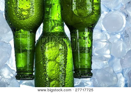 Beer is in ice, cold, cool background