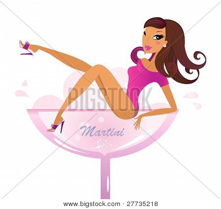 Beautiful Retro Girl In Pink Martini Glass