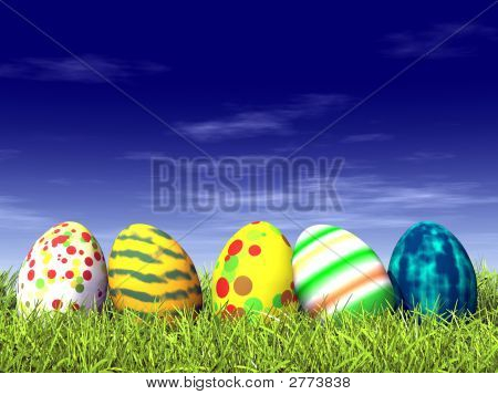 Colored Easter Eggs On Grass