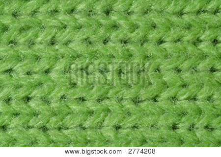 Green Knitted Wool Close Up