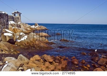 Front Beach And Gazebo. Rockport, Ma