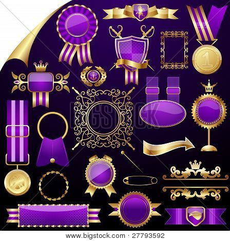 Set of gold design elements,vector