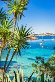Idyllic View Of Cala Fornells Seaside Bay With Anchored Boats, Majorca Spain, Mediterranean Sea poster