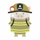 Pig And Profession. Pig In The Form Of Fire. Funny Pig, Vector poster