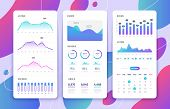 Mobile Phone Ui. Control Panel With Statistics Charts, Diagrams Calendar. Market Annual Graphs. Phon poster