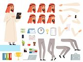 Arabic Businessman Animation. Creation Kit With Body Parts And Business Tools Vector Constructor Of  poster