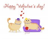Happy Valentines Day Greeting Card With Cute Cartoon Cats Boy And Girl In Love. Male Cat In Top Hat  poster