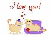 I Love You Greeting Card With Cute Cartoon Cats Couple Male And Female In Love. Boyfriend Cat In Top poster