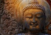 Rock Buddha Statue With Sunlight Used For Amulets Of Buddhism Religion. Buddhism Is Popular Region I poster